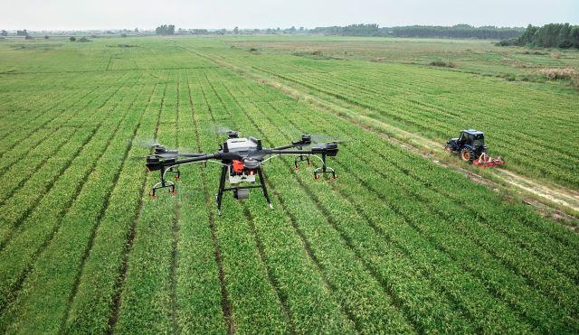imagem de drone da agricultura 5.0 no campo