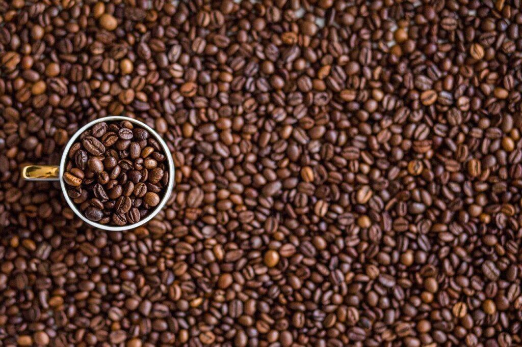 Grãos de café espalhados em mesa com xícara branca cheia de grãos